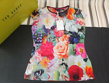 Ted Baker Genuine Ladies BrIana Floral Swirl Print T-Shirt Fuchsia BNWT UK 12