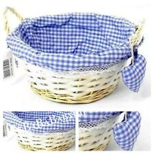 Blue Gingham Wicker Basket With Padded Heart Baby Shower Hampers Gifts Keepsakes