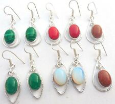 modern GEMSTONE! 5PR WHOLESALE LOT 925 SILVER STERLING OVERLAY ERRING