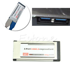 New USB  3.0 Express Card ExpressCard 34mm/54mm 2 Port Hidden Adapter For Laptop