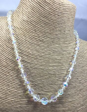 Vintage Austrian Crystal Necklace Aurora Borealis Glass faceted Graduated Coin