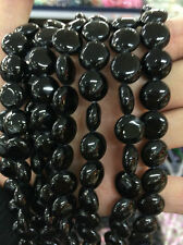 10mm Black Coin Agate Onyx Round Loose Beads Gemstone 15""