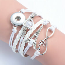 DIY Handmade Leather Adjustable Bracelet For Button Silver Charm Fit Snaps18mm 3