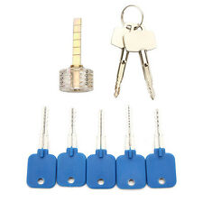 5Pcs Try-Out Keys Set with Transparent Cross-Shaped Practice Padlock Locksmith T
