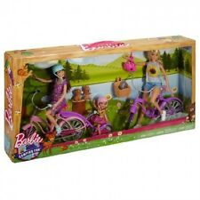 Barbie sisters camping fun bike kit incl barbie/skipper/chelsea poupées + b....
