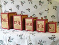 VINTAGE FRENCH UNIQUE SET 5 LARGE WOOD KITCHEN CANISTERS RUSTIC HAND CARVED