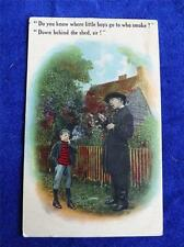 LITTLE BOYS GO WHO SMOKE BEHIND THE SHED ANGRY TEACHER FUNNY JOKE POSTCARD
