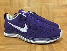 RARE�� Nike Flyknit Lunar1+ Purple Violet White Sz 9 Woven Running 554888-555 LE