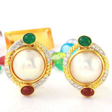 2.01 Carat Natural Diamond 18K Solid Yellow Gold Mabe Pearl Earrings