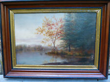 Fine Antique Victorian Landscape Oil Painting Woodland Lake and Boats ca 1890