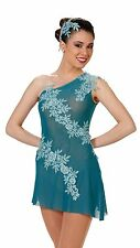 NEW!   STUNNING teal COMPETITION DANCE LYRICAL BALLET COSTUME ~ MEDIUM ADULT
