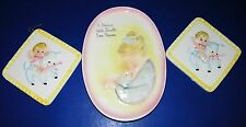 3 Lefton Baby Girl Nursery Wall Plaques Porcelain China Embossed 3D Pictures