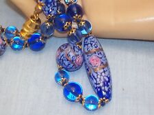Vintage Blue & Pink Rose Venetian Murano Art Glass Wedding Cake Bead Necklace