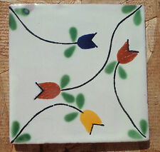 "10~Talavera Mexican tile pottery hand painted 4"" hand made Flowers Blue VINES"