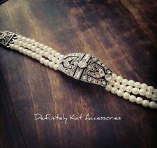Vintage Art Deco Gatsby style crystal multi row white pearl bridal cuff bracelet