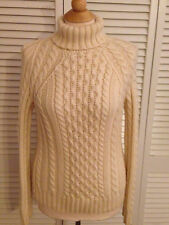 J.Crew Women's Large White Cable Knit Turtleneck Sweater Chunky