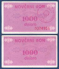 BOSNIEN H. / BOSNIA H. 1000 Dinara (1992) Bon  VF  P.50