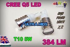 2x W5w T10 501 Cree Led Alta Potencia Usa Chip 5w 6000k blancos más brillantes disponibles