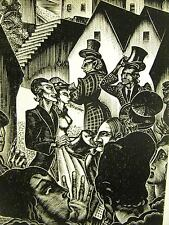 Lynd Ward 1930 RICH SLAVE TRADER & WIFE RESPECTED in TOWN Art Deco Print Matted