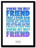 QUEEN - You're My Best Friend - song lyric poster typography art print - 4 sizes