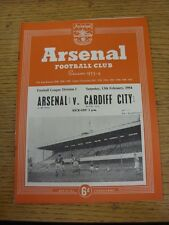 13/02/1954 Arsenal v Cardiff City  (Neat Match Details Noted On Cover/Inside, Ru