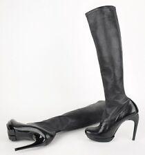 $1,295 BALENCIAGA BLACK KNEE HIGH BOOTS STRETCH LEATHER 38 (US 7)