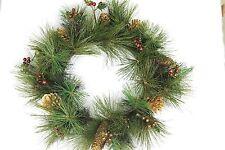 GISELA GRAHAM CHRISTMAS GLITTERED ACRYLIC FIR BERRY GOLD CONES WREATH 40cm