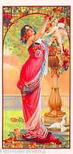 1894 Peacock Series III Woman Arbor Vintage French Nouveau Poster Advertisement
