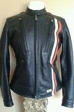 Harley-Davidson Fastback womens small leather jacket  Racing black orange stripe