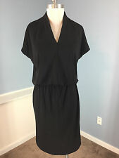 Talbots S Black Blouson Dress Stretch Career Cocktail cap sleeve