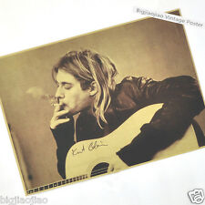 Nirvana lead singer Kurt Cobain Kraft Paper Music Poster Old Retro Collection