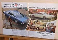 1966 two page magazine ad for Plymouth - '67 Sport Barracuda, convertible plus