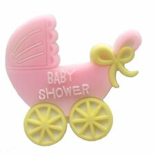 12 Flexible Pink Baby Buggy baby shower favors appliques - 4 pk of 3