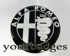 NEW Aluminium Black White and Chrome Alfa Romeo Car Badge 74mm
