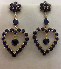 14k Solid Yellow Gold Dangle Stud Heart Earrings with Natural Sapphire Round Cut