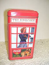 VINTAGE COCA COLA TIN BOX WOMAN IN TELEPHONE BOOTH