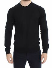 NWT $440 DOLCE & GABBANA Black Wool Crew-neck Sweater Pullover Top s. IT46 / S