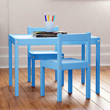 Kid's Blue Wood Table with 2 Chairs Furniture Set For Use in Children's Room