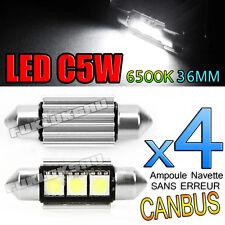 4 AMPOULES NAVETTE LED C5W 36mm 6500k ANTI SANS ERREUR CANBUS PLAFONNIER PLAQUE