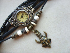 Retro Leather Bracelet Supernatural Dean's God Amulet Quartz  Watch  Black