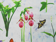 1YD BOTANICAL FLOWERS Lily of the Valley Lady's Slipper Orchids Seasonal Magic
