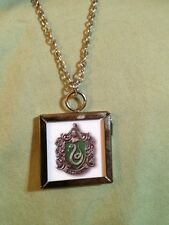 Harry Potter Slytherin crest double sided Square Silver Charm Pendant