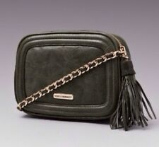 Rebecca Minkoff Flirty Green Sage Crossbody Bag Gold Studded Chain Strap NEW