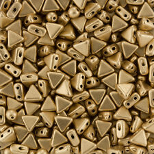 Kheops Par Puca Triangle 2 Hole Seed Beads Light Gold Matt 6mm - 9g Tube (K94/6)