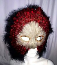 FEATHER MASQUERADE, MARDI GRAS, BIRD MASK.   RED & BLACK 9404
