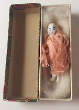 Antique Miniature Porcelain Jointed Girl Doll Bisque 2 1/4 inches