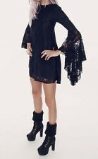 Wildfox White Label Black Lace Goth Babydoll Dress Wide Sleeves Dress Sz M
