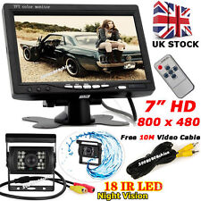 "18 LED IR Reversing HD Camera +7"" LCD Monitor Rear View Kit for Bus Truck 12-24V"