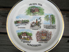 Vintage Kongsberg Norway Souvenir Plate Hilsen Fra Church Crowns in Havet AF