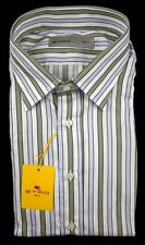 New ETRO Milano Green Blue Striped Cotton Dress Shirt 17.5 44 XL 17 1/2 NWT $395